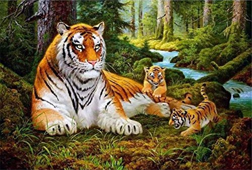 - ABEUTY DIY Paint by Numbers for Adults Beginner - Tiger & Tiger Cub Forest 16x20 inches Number Painting Anti Stress Toys (No Frame)