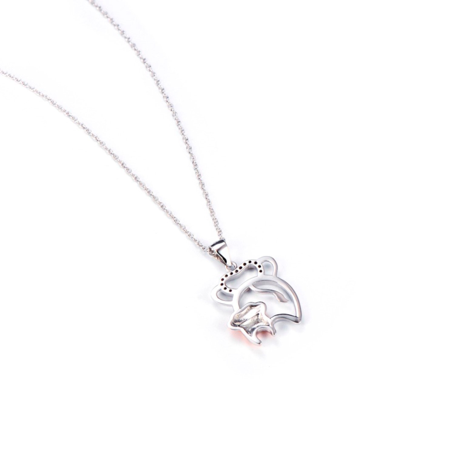 CS-DB Mother/&Child Elephant Pattern Crystal Silver Necklaces Pendants