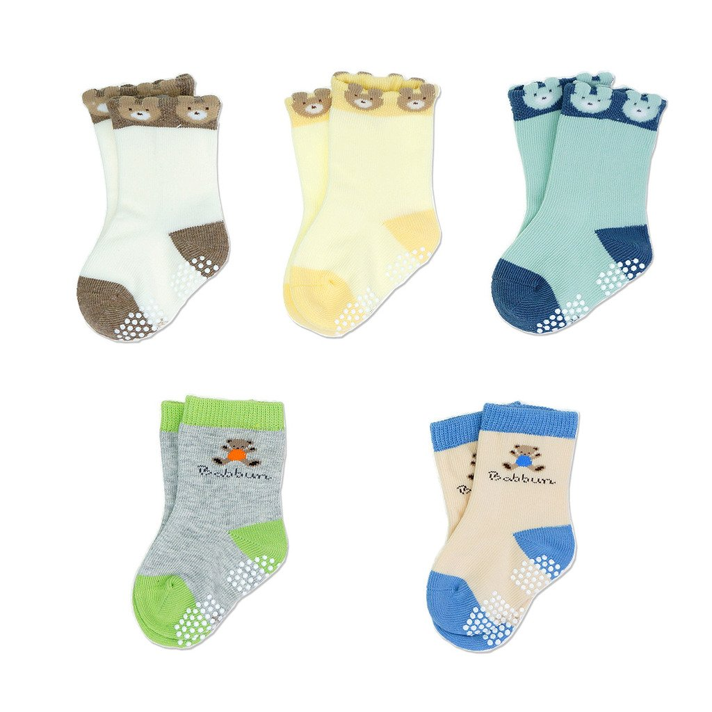 Baby Toddler Kids Antiskid Socks Non Anti Slip 5 Pairs Cotton Sock for Girls Boys Cartoon Bear