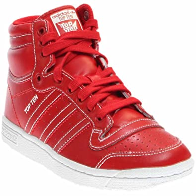 adidas shoes high tops red. adidas f37291 : originals top ten hi j basketball shoe red/white for big kids shoes high tops red r
