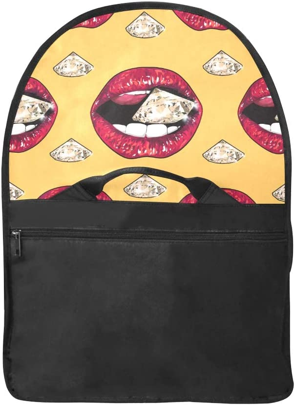 Woman Carryon Bag Red Lip Holding Sparking Brilliant Diamond Multi-Functional Laptop Bag for Men Fit for 15 Inch Computer Notebook MacBook