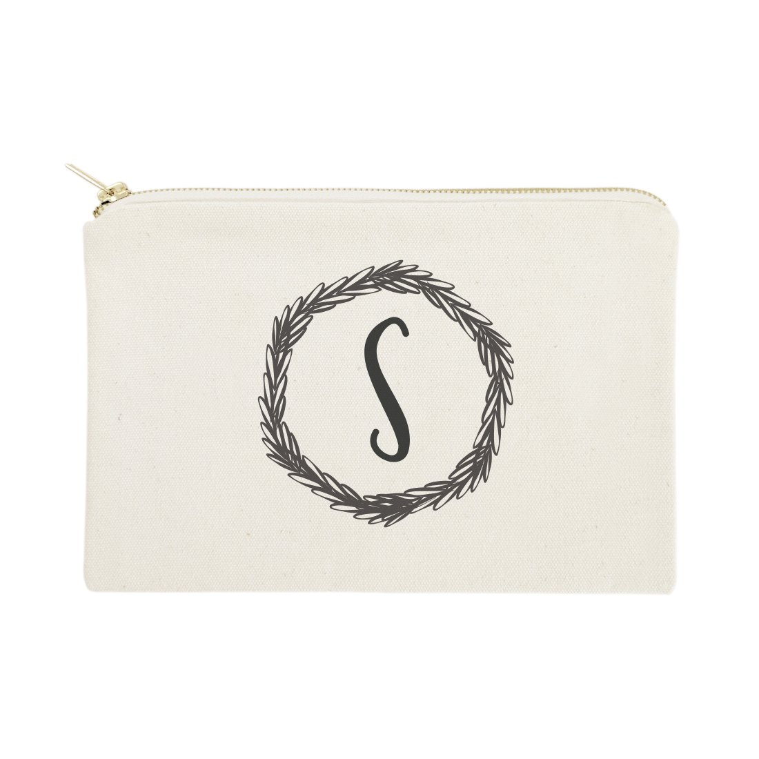 The Cotton & Canvas Co. Personalized Monogram with Wreath Cosmetic Bag and Travel Makeup Pouch