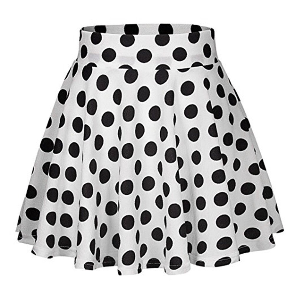 2019 Womens Summer Dot Printed Skirt Party Cocktail High Waist Midi Skirts (White, S)