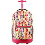 J World New York Sundance Rolling Backpack and Laptop Bag, Squares Neon, One Size
