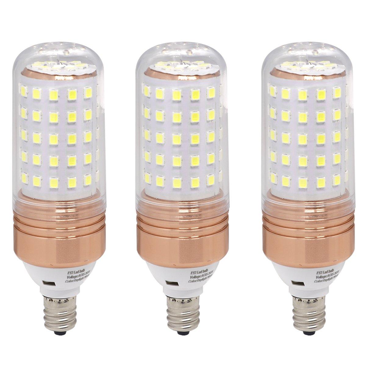 Ulight E12 led Candelabra Bulb, 100w Halogen Bulbs Equivalent, Daylight White led Bulb 1100lm, 360 Degree Beam Angle for Ceiling Fan Lighting, Chandelier Light Pack of 3 (Daylight White 6000K)