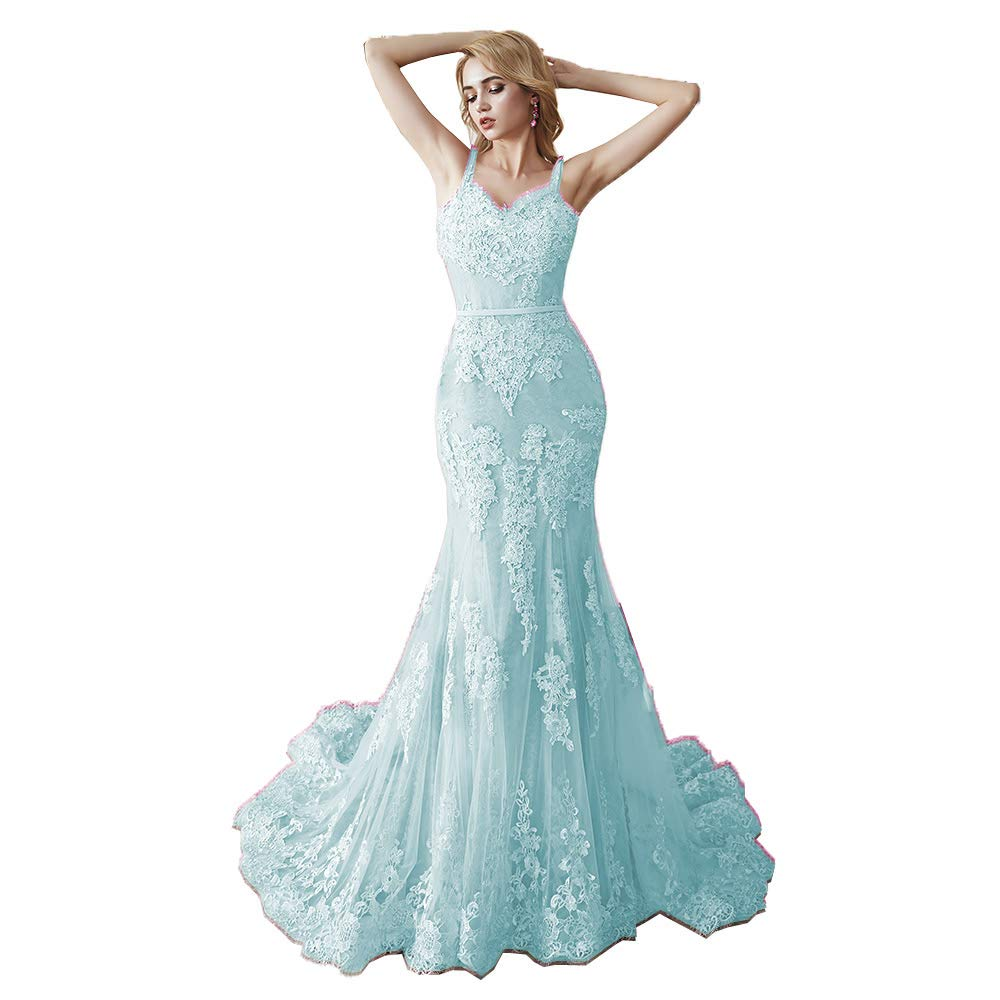 Light bluee MariRobe Women's Lace Applique Bridesmaid Dress Mermaid Quinceanera Dress Strap Long Evening Dress Engagement Gown