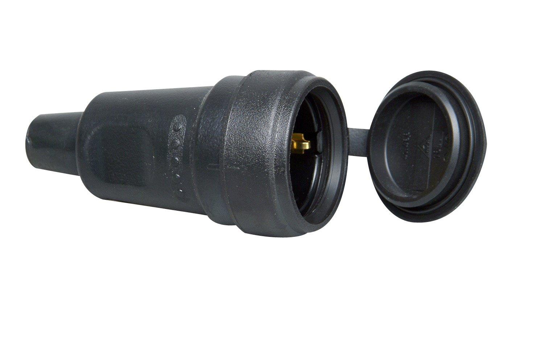 Kopp 181416067 Schutzkontakt-Gummikupplung mit Spritzwasserschutzkappe und Knickschutztü lle
