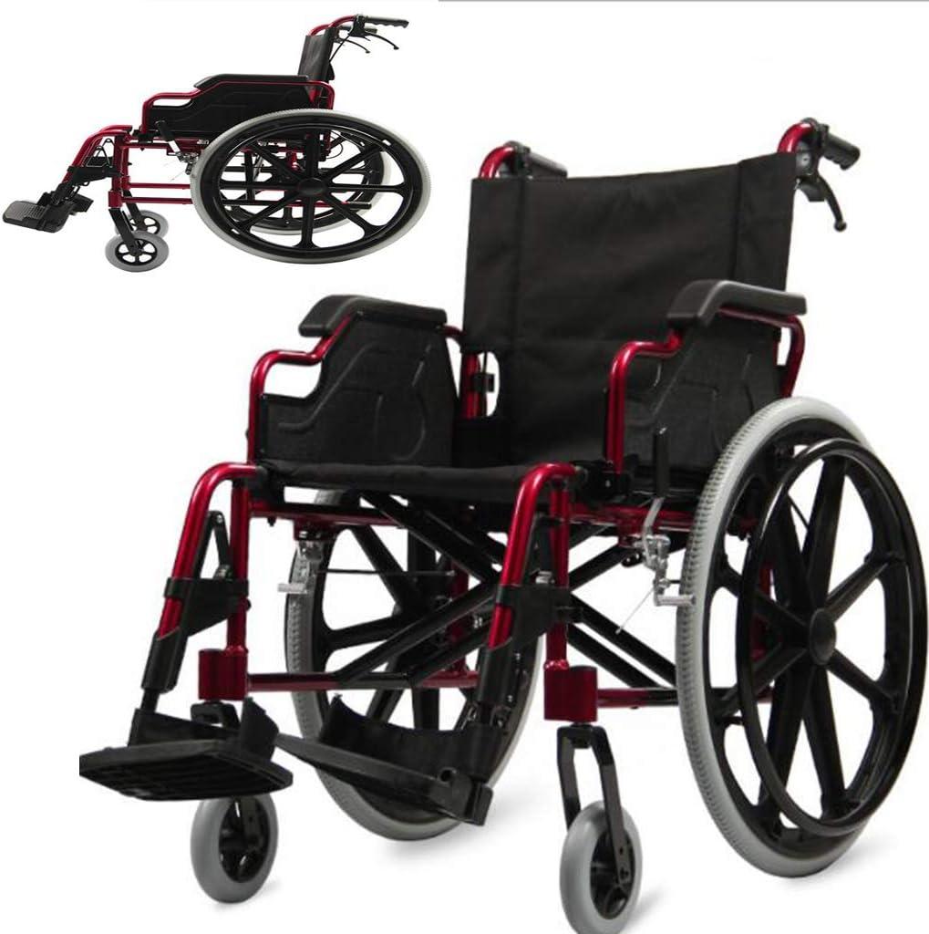 Aleación de aluminio Silla de ruedas plegable ultraligera para ancianos Portátil, portátil de viaje Obeso Discapacitados Ancianos Silla de ruedas manual multifunción