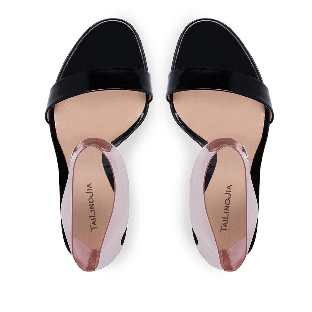 LUCKY CLOVER-A Sandalen High Heels Heels Heels Frauen Braut PU Pumps Hochzeit Sandalen Gericht Schuhe 10 cm Kleid Dating Büro Party Schwarz Rot Schuhe, EU34-46,schwarz,EU37 - d87d9d