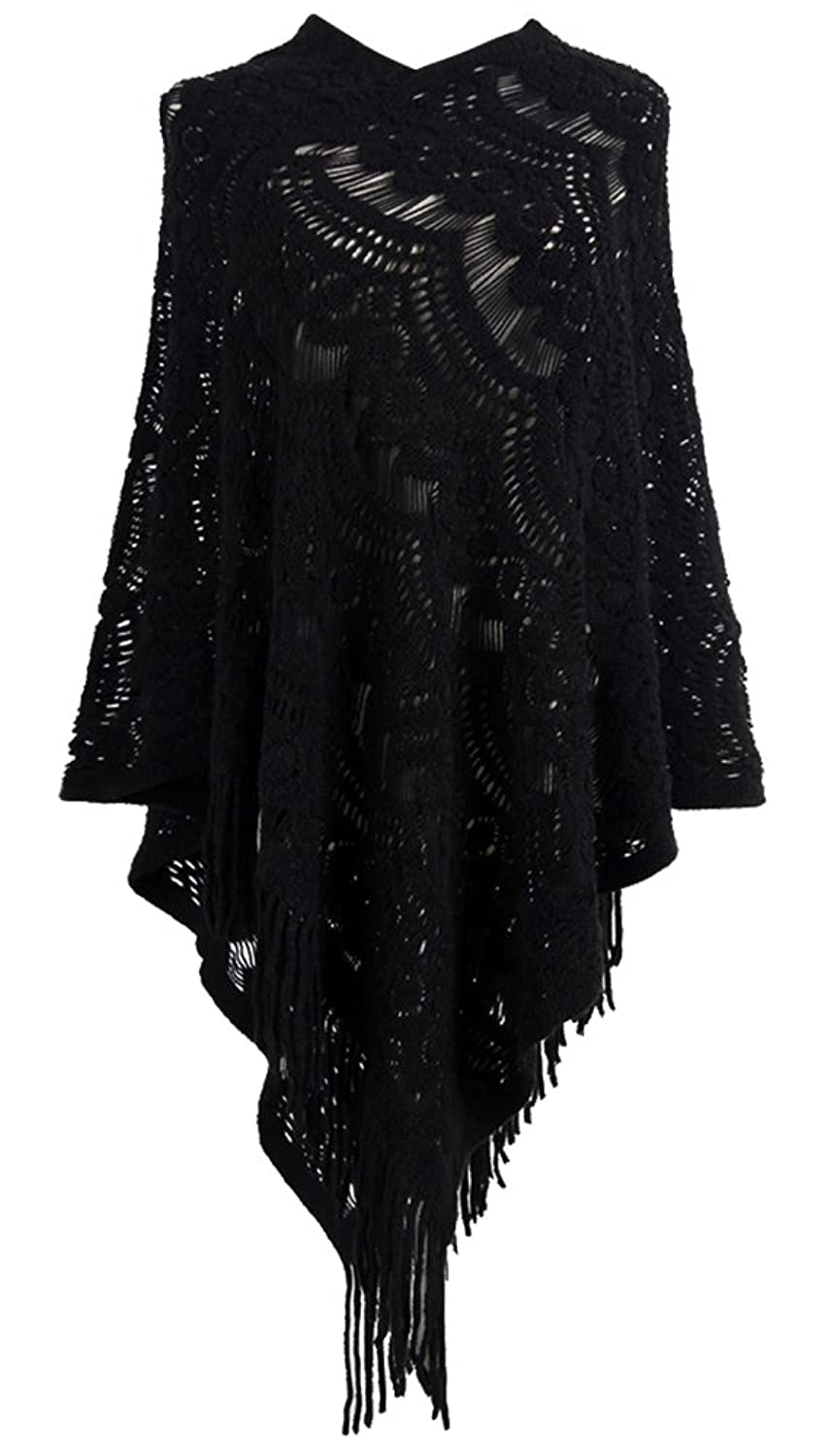 Amazon ferand ladies hooded cape with fringed hem crochet qzunique womens sweater cape pullover lace shawl tassles knit poncho like wrap bankloansurffo Image collections