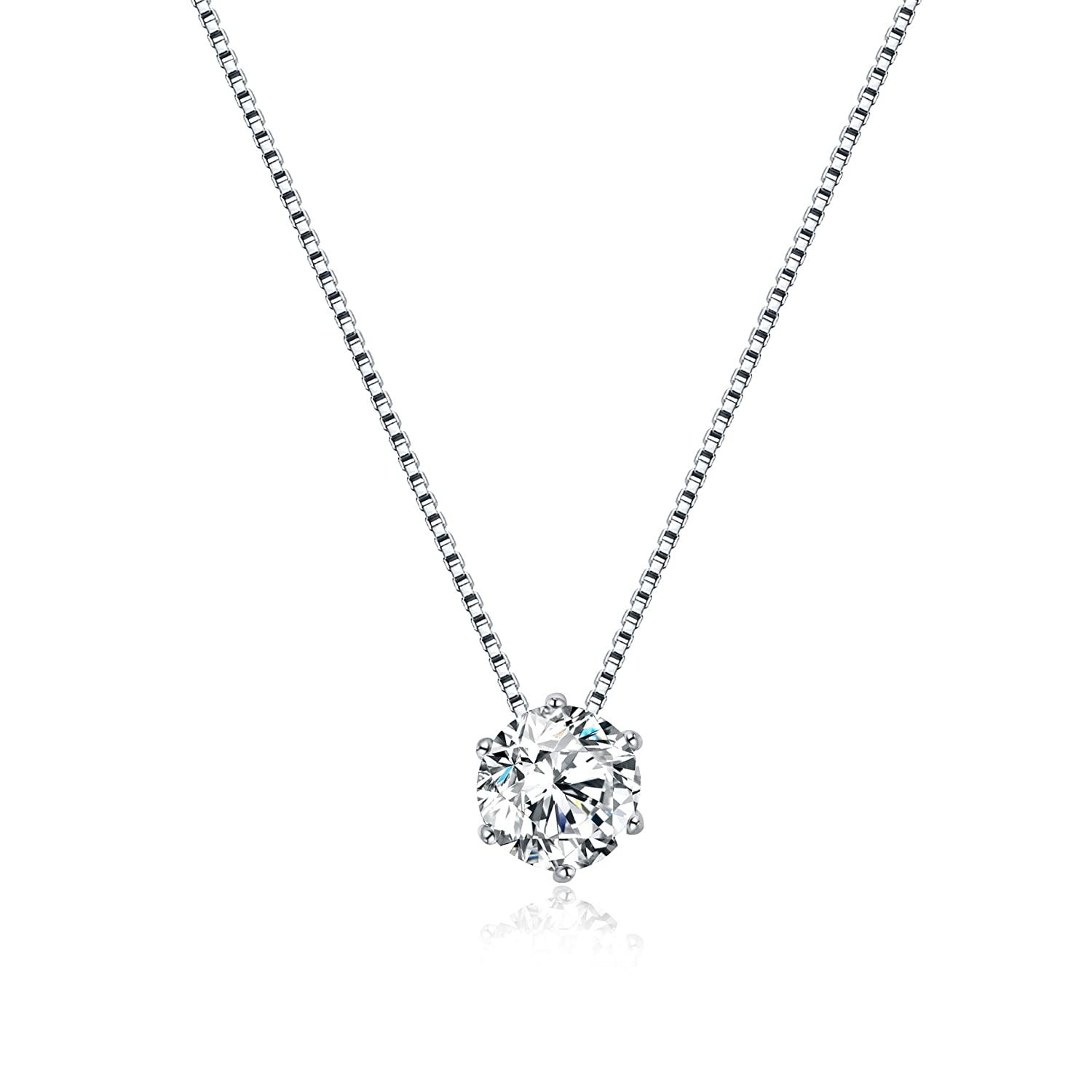 925 Sterling Silver 1ct Cubic Zirconia Solitaire Necklace, Cubic Zirconia Created Diamond Necklace, Dainty Floating Solitaire Necklace for Women