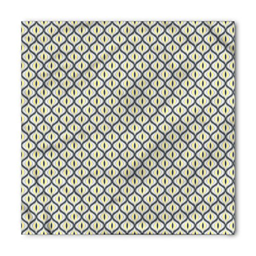 Ikat Bandana by Ambesonne, Pale Toned Indonesian Traditional Ogee Shapes South Asian Abstract Vintage, Printed Unisex Bandana Head and Neck Tie Scarf Headband, 22 X 22 Inches, Grey Yellow - Head Asian Shape
