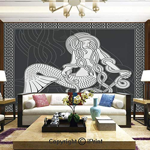 - Wallpaper Nature Poster Art Photo Decor Wall Mural for Living Room,Retro Style Art Mermaid Brushing Hair and Border with Celtic Patterns Print,Home Decor - 100x144 inches