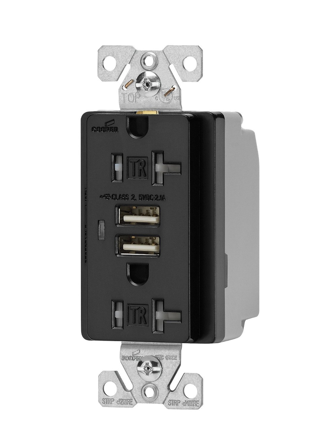 Astounding Eaton Wiring Tr7746Bk Box Combination Usb Charger With Tamper Resistant Receptacle And Box 20 Amp Black Finish Wiring Database Gramgelartorg