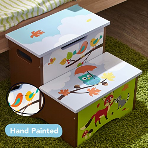 Fantasy Fields - Enchanted Woodland Thematic Kids Wooden Step Stool with Storage | Imagination Inspiring Hand Crafted & Hand Painted Details | Non-Toxic, Lead Free Water-based Paint