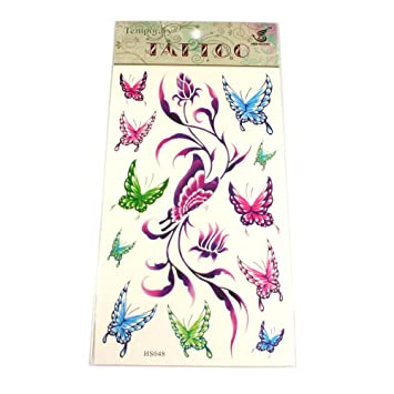Tattoos Schmetterlinge Bunt Lila Rosa Grun Blau Amazon De