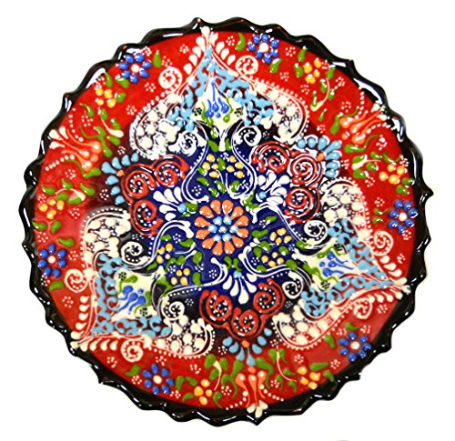 Turkish Ceramics~Hand Painted Ceramic Plate-7 inch-red