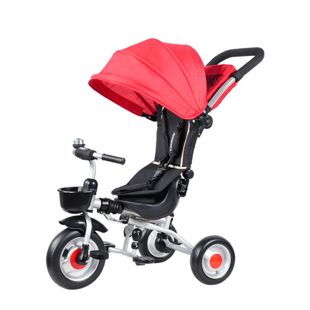QXMEI Children's Tricycle Folding Bicycle Baby Stroller 1-3 Years Old Multi-Functional Baby Stroller with Awning,Red1