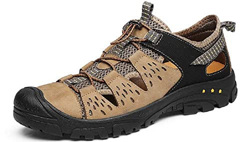 Tqgold Sandales De Randonnée Homme Cuir Marche Chaussures De