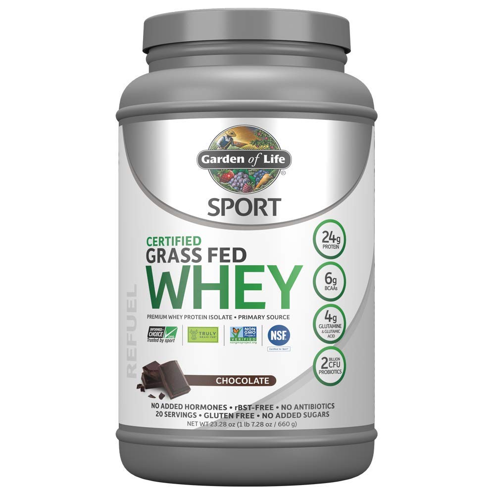 Garden of Life Sport Certified Grass Fed Clean Whey Protein Isolate, Chocolate, 23.7oz (1lb 7.7oz / 672g) Powder by Garden of Life