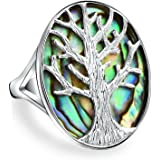 Bling Jewelry Tree of Life Oval Abalone Shell Modern Ring Sterling Silver