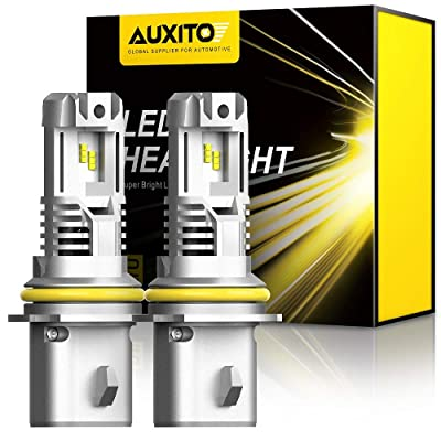 AUXITO 9007 LED Headlight Bulbs, 12000LM Per Set 6500K Xenon White Wireless HB5 High Low Beam Headlight Hi/Lo, Pack of 2: Automotive