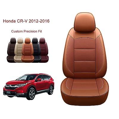 OASIS AUTO 2012-2016 CRV Custom Fit PU Leather Seat Cover Compatible with 2012-2013-2014-2015-2016 Honda CR-V (2012-2016 CRV, Orange): Automotive