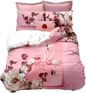 Erosebridal Flamingo Duvet Cover Twin Size Pink Flamingo Quilt Cover Animal Theme Decor Bedding Set for Couple Teens Kids Quilt Cover Flower Pattern Bedspread Cover Romantic Style Comforter Cover