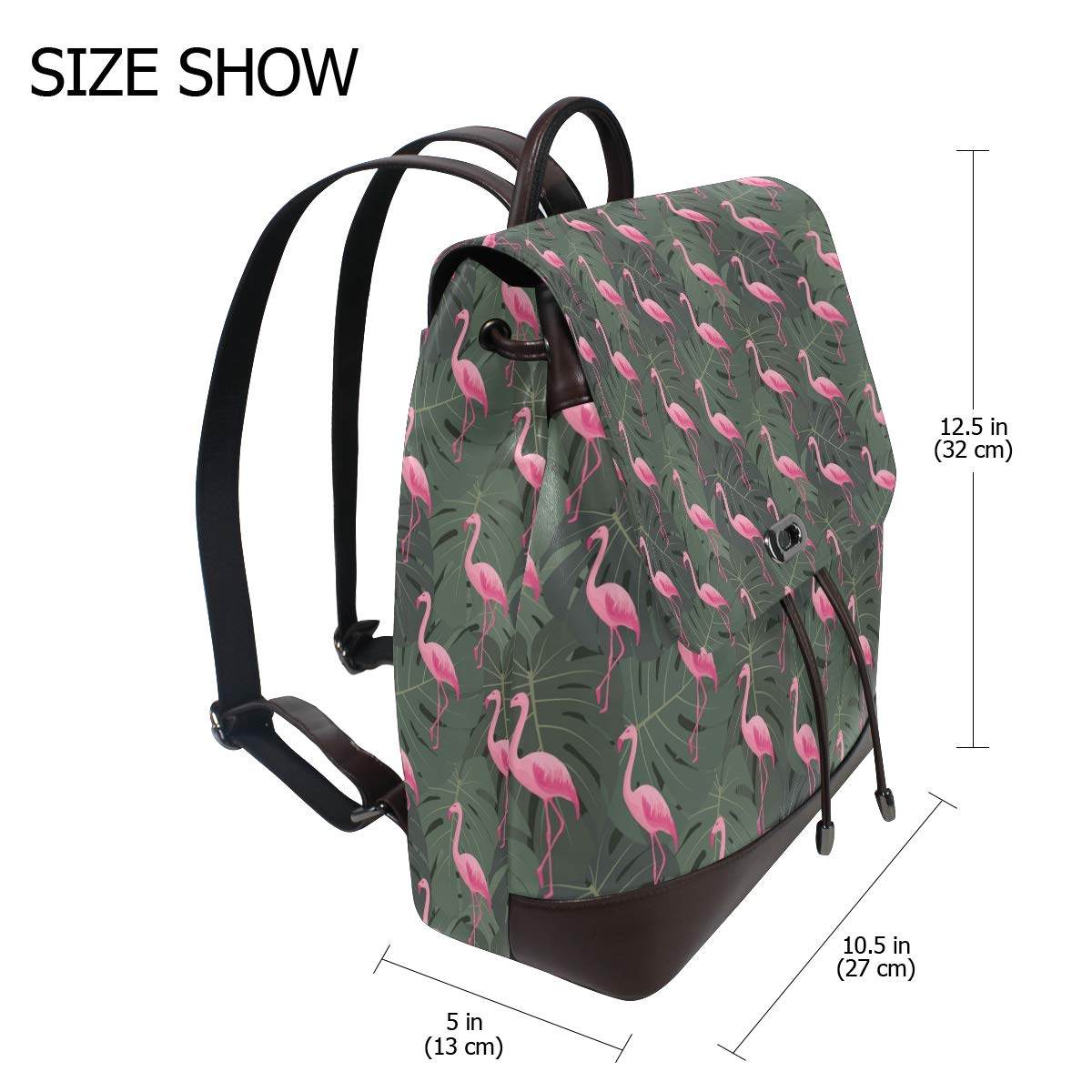 Leather Pattern With Flamingos Backpack Daypack Bag Women