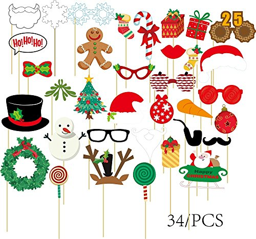 [34pcs Photo Booth Props DIY Panel Party Photography Accessories for Wedding Baby Birthday Anniversary Shower] (Cute Halloween Printouts)