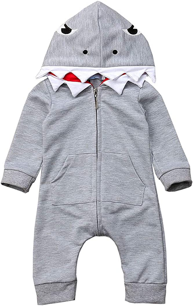 Newborn Infant Baby boy Girl Cartoon Shark Long Sleeve Hooded Jumpsuit Bodysuit Romper Zipper Outfit
