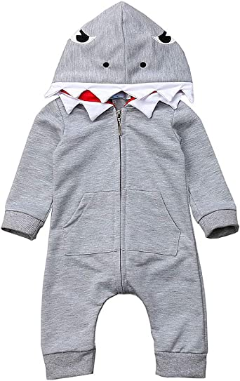 Toddler Infant Baby Kid Boys Girls Long Sleeves Cartoon Shark Hooded Top Clothes