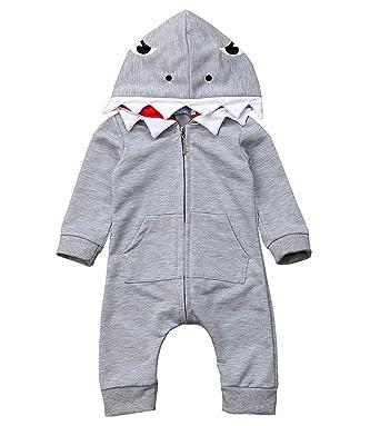 b429a6c1b Amazon.com  Newborn Infant Baby boy Girl Cartoon Shark Long Sleeve ...