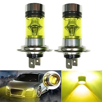 2 X H7 100W LED 20-SMD Luz Lámparas de Niebla,Amarilla Bombillas DRL