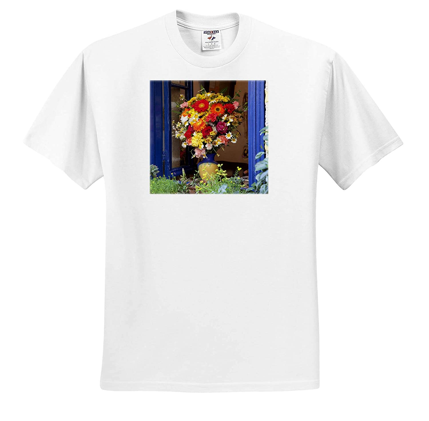 Adult T-Shirt XL ts/_313614 Greece 3dRose Danita Delimont Crete Window with Flowers Flowers