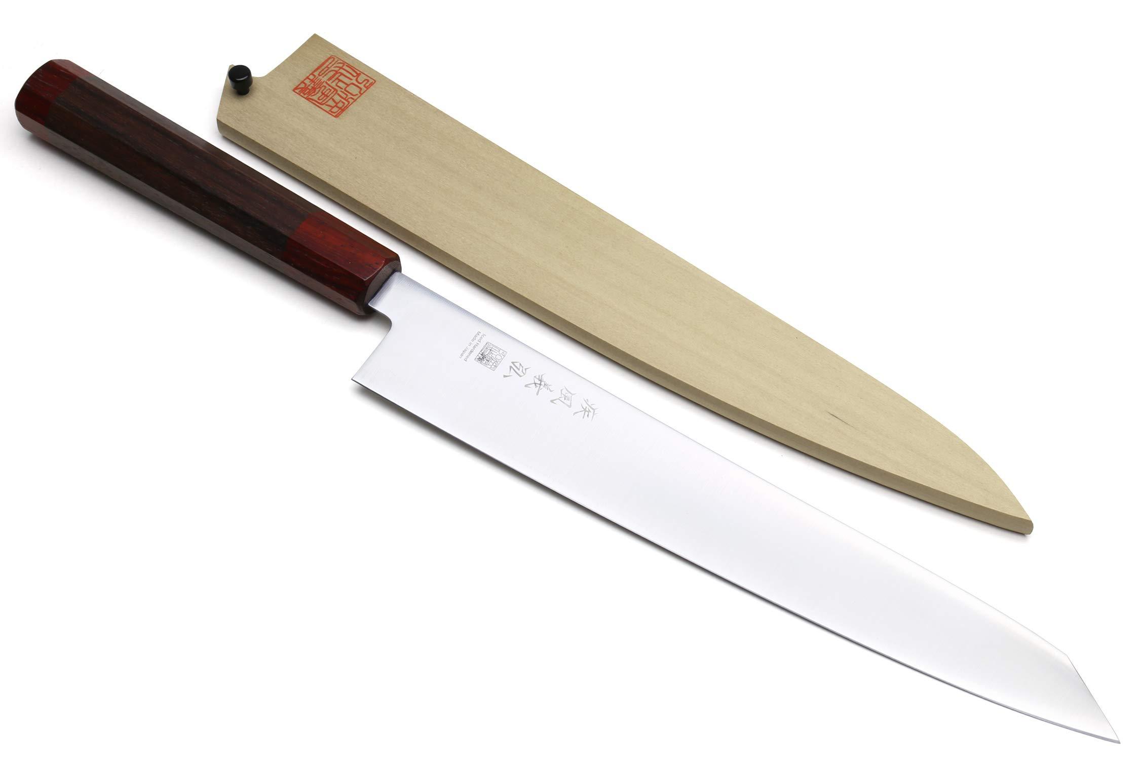 Yoshihiro Ice Hardened Aus-10 Stainless Steel Sujihiki Kiritsuke Slicer Japanese Chef Knife Shitan Rosewood Handle (10.5'' (270mm)) by Yoshihiro