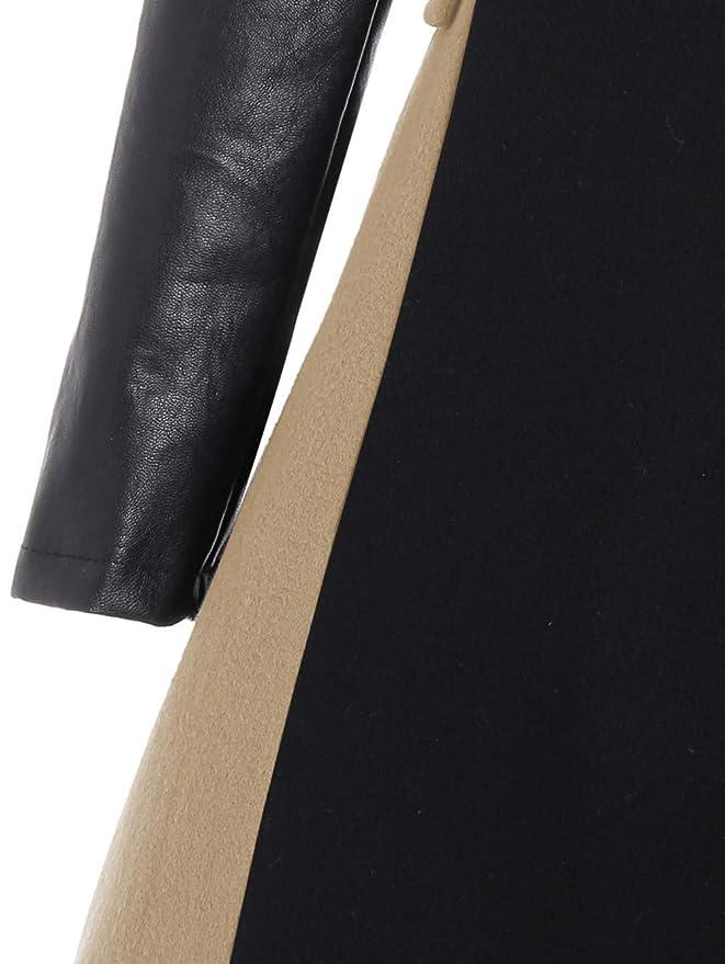Abrigo Largo Mujer Talla Grande Chaqueta de Abrigo de Patchwork Abrigo de Cuero de Las señoras de Lana Stitchin Outwear Tops by SunGren: Amazon.es: Ropa y ...