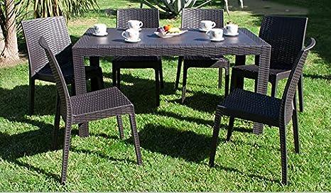 Dimaplast set garden tavolo e 6 sedie da giardino dark brown: amazon