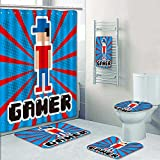 PRUNUSHOME Designer Bath Polyester 5-Piece Bathroom Set,video game design over blue and red stripes background vector Print bathroom rugs shower curtain/rings and Both Towels(Large)