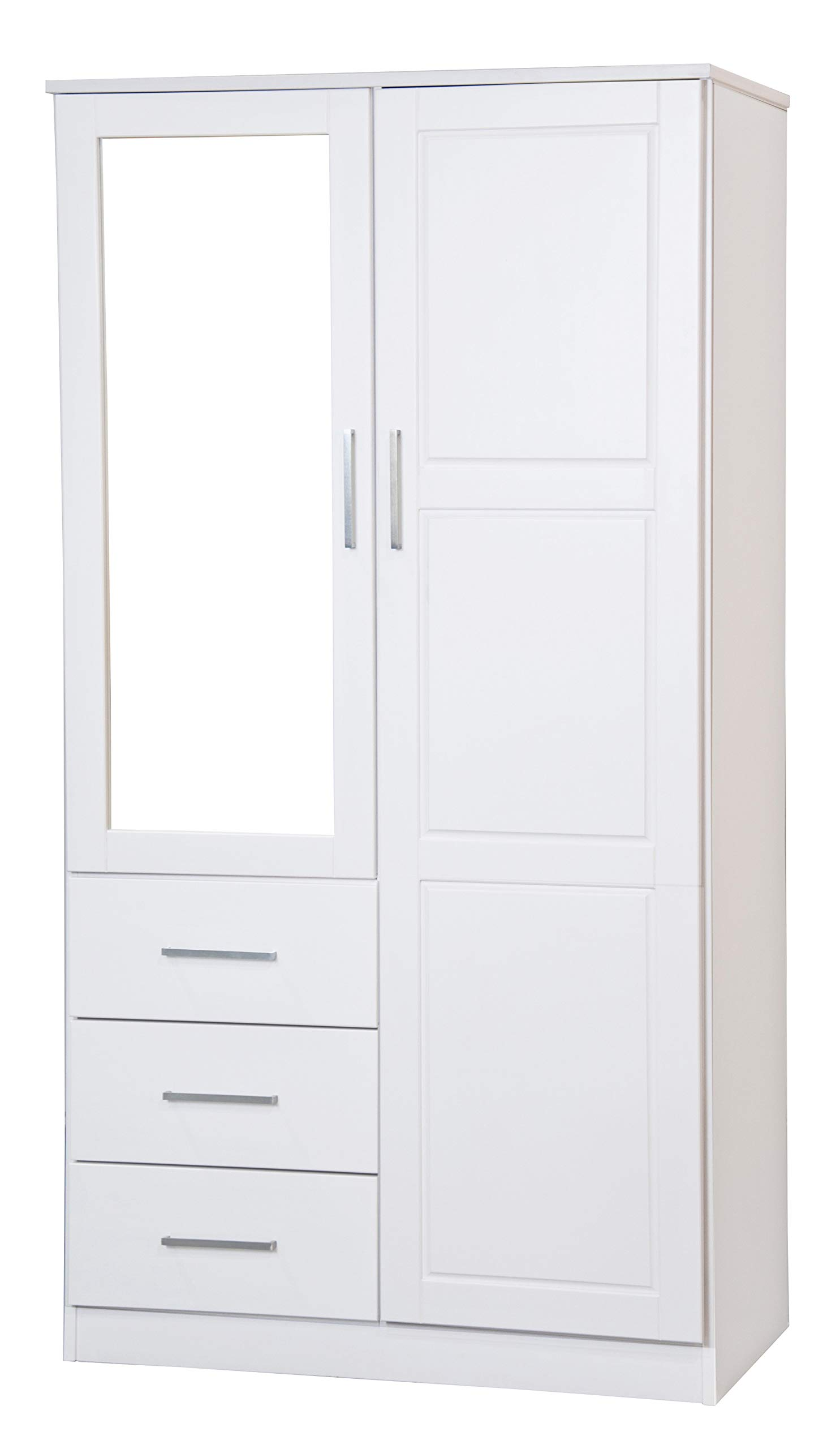 Palace Imports Metro Solid Pine Wood Wardrobe/Armoire/Closet with Mirror and 3 Drawers 7101 White, 38''w x 21''d x 72''h. Optional Additional Shelves Sold Separately. Requires Assembly.