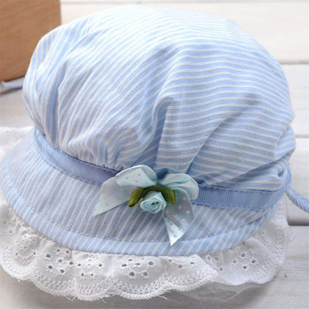 YouCY Lace Bowknot Fisherman Hat Striped Cap Child Girls Hat Cute Lovely Princess Hat For Kid Children,Pink
