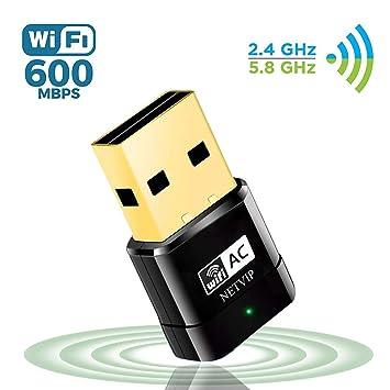 NETVIP Adaptador WiFi 5GHz Tarjeta Red WiFi Receptor WiFi USB AC600 Banda Dual Adaptador Inalambrico WiFi para WPS Adaptador de Red Compatible con ...