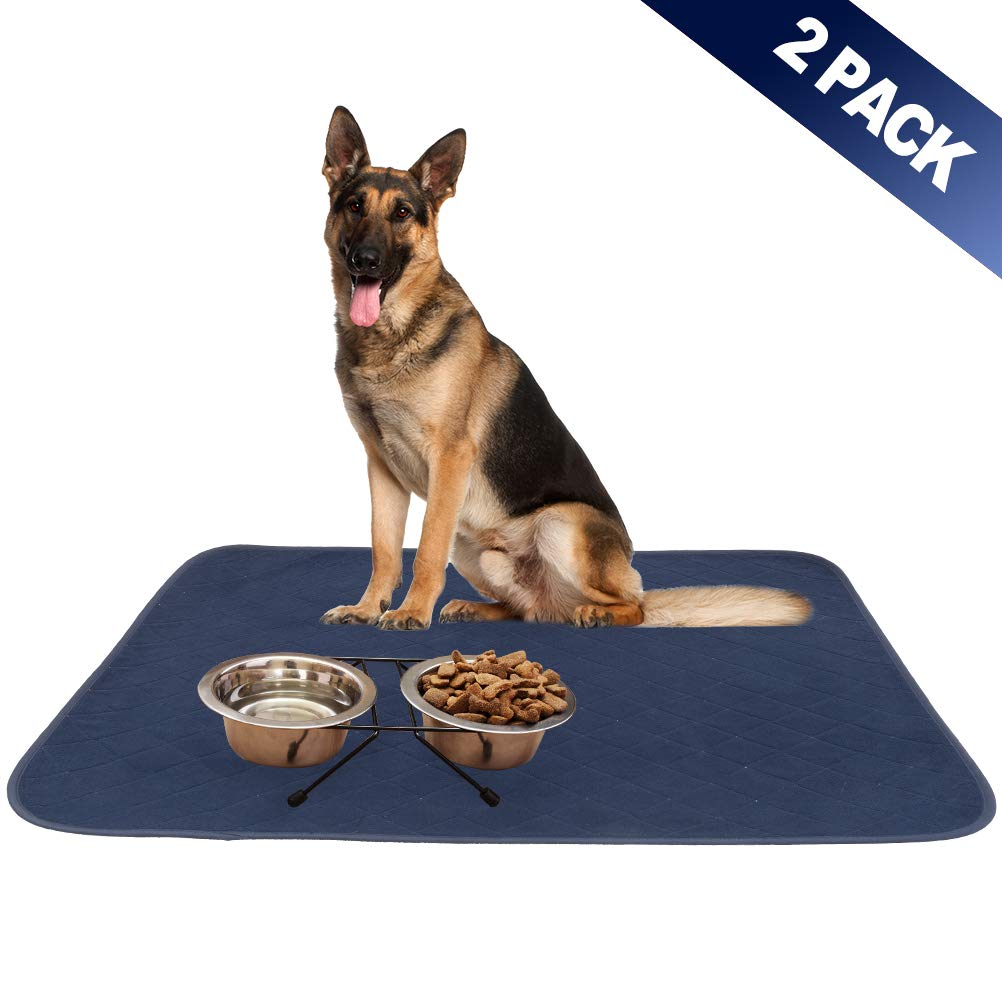 SCIROKKO 2 Pack Dog Food Mat - Highly Absorbent Reusable & Washable Pee Pads - Non Slip & Waterproof Dog Bowl Mat - Pet Crate Mat for Puppy Cat - Large by SCIROKKO