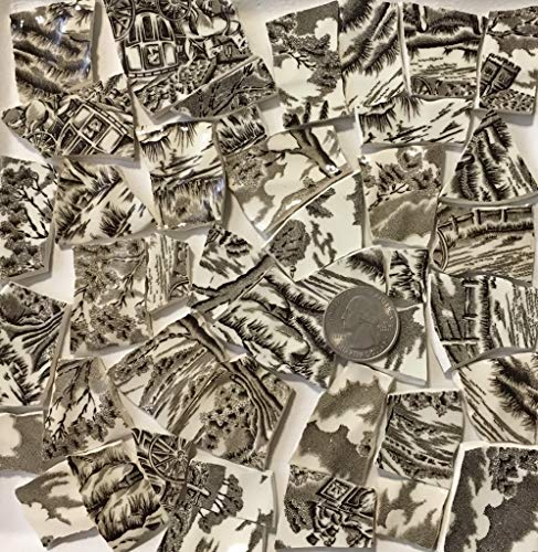 Mosaic Art & Crafts Supply ~ Brown & White Classic Transferware Tiles (B810)