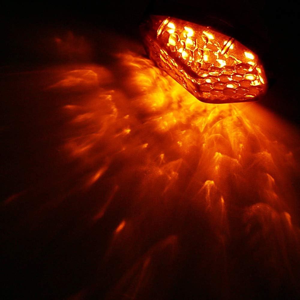 Fanuse Clignotants de Moto Encastr/éS /à LED Light LED Clignotant Voyant Clignotant Lumi/èRe pour Zx6R Zx7R Zx9R Zx636 Zzr600 Zx12R Clair