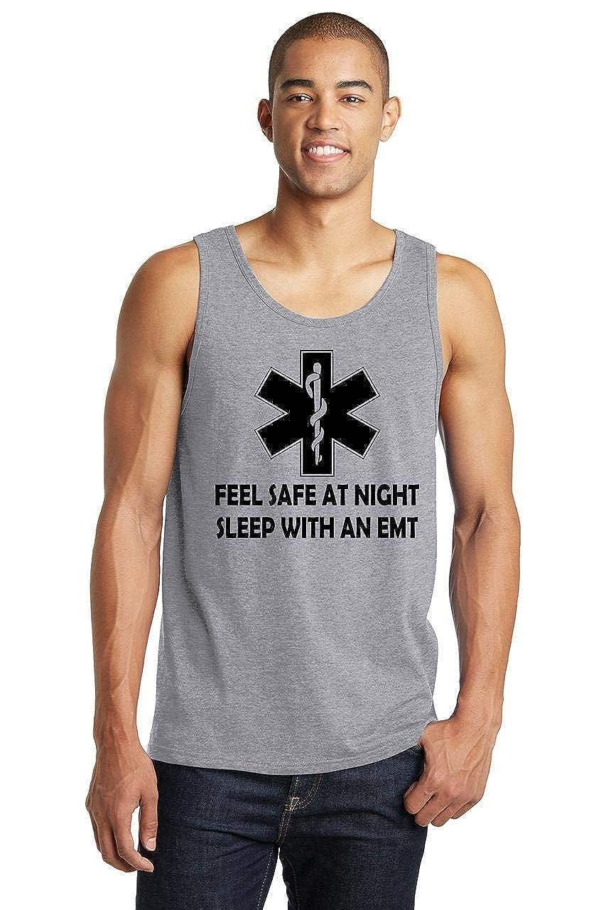 Comical Shirt Mens Feel Safe at Night Sleep with EMT Tank Top