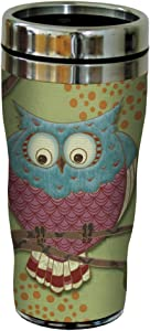 Tree-Free Greetings 25512 Paul Brent Whimsical Owl Sip 'N Go Stainless Lined Travel Mug, 16-Ounce