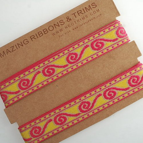 Neotrims Vibrant Colour India Ribbon Aztec Celtic Design, 2cm, Cerise Pink, Gold. Ribbon Trim with Celtic Jacquard pattern for Sewing or Hobby Crafts or Scrap Booking or Card making. Washable and Durable to decorate garments or interiors or as craft accessory. Stunning Cerise and gold on a Light Beige Ground. Fab Decorative trimming. THIS IS SOLD BY THE REEL OR MULTIPLE REELS, 1 REEL IS 16.4MTS