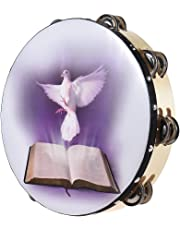 """ammoon Tambourines 8"""" / 10"""" Double Row Jingle Tambourine Handbell Clap Drum Percussion Instrument with Dove & Bible Pattern for Church (10"""")"""