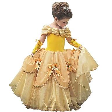 Amazon.com: MYRISAM Belle vestido de princesa para niñas ...